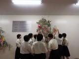 生徒玄関に飾られた笹