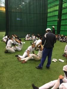 JR東海室内練習場にて体幹トレーニング